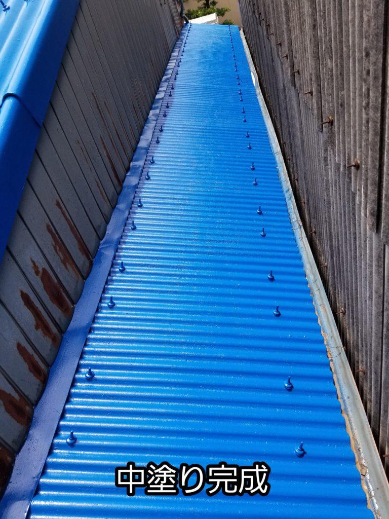 浜松市南区の工場 波型スレート屋根の中塗り塗装 上塗り塗装 ...