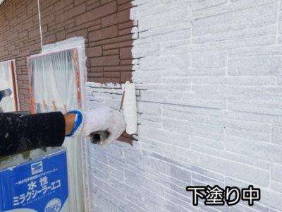 サイディング レンガ調 下塗り 塗替え 一戸建て 家 浜松市外壁塗装屋根専門店の加藤塗装