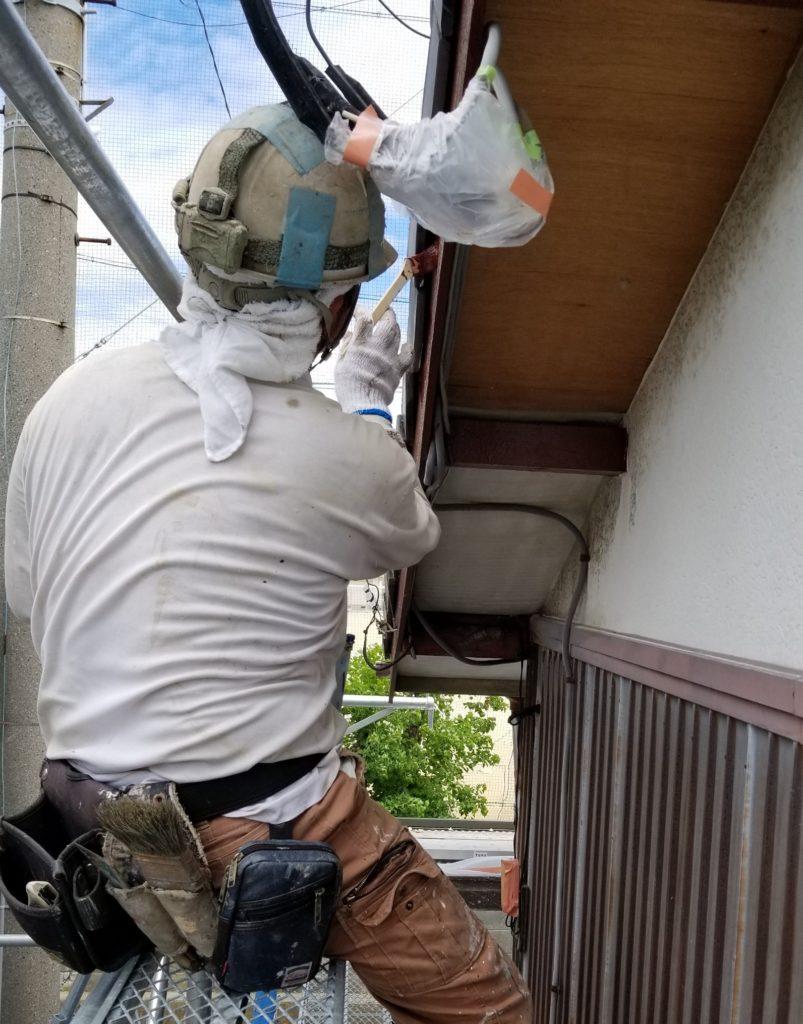 借家 塗替え 木部 下塗り 破風 浜松市外壁塗装屋根専門店の加藤塗装
