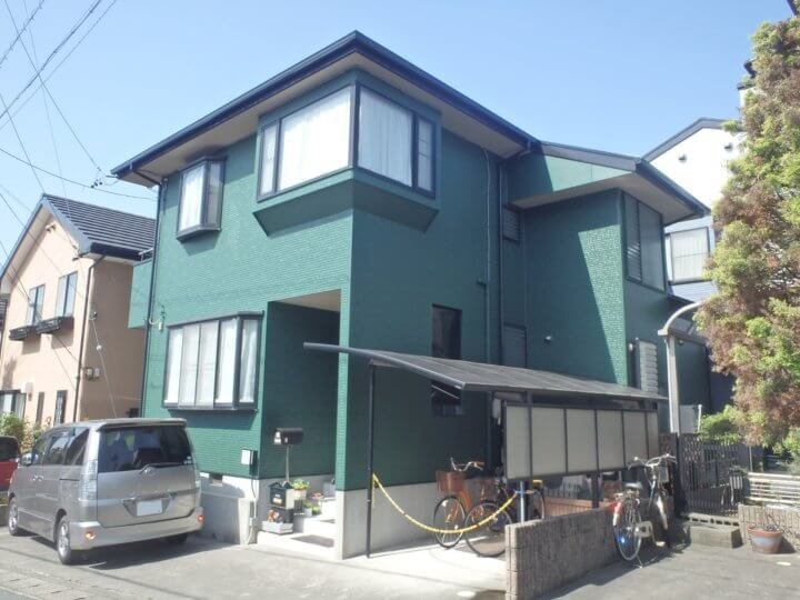 浜松市中区三組町Hさまの外壁塗装オリーブグリーンにて完成。浜松市外壁塗装屋根塗装専門店|加藤塗装