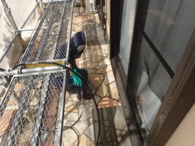 高圧洗浄 庭 石畳 経年汚れ 意匠性 浜松市塗装