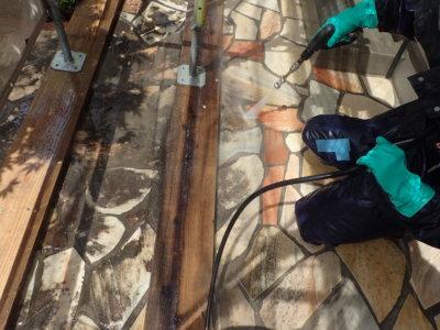 高圧洗浄 庭 石畳 経年汚れ 意匠性 浜松市塗装 カラーシミュレーションブログ