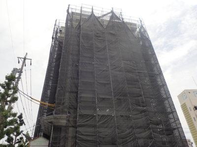 高層ビル外壁塗装 ALC シーリング 足場工事 ハーネス 命綱 浜松市外壁塗装屋根塗装防水工事 安心安全 加藤塗装