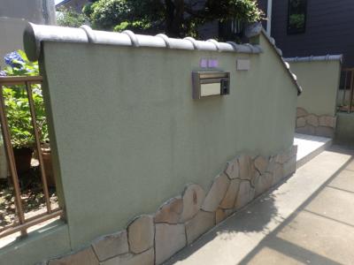 塀2浜松市南区遠州浜施工事例外壁塗装の事なら浜松塗装専門店|加藤塗装外構塀塗装門塀和色施工前