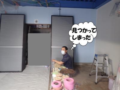 梅雨 梅雨 倉庫で塗装 雨戸戸袋ケレン作業 浜松塗装専門店|加藤塗装 ケレン