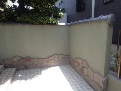 塀2浜松市南区遠州浜施工事例外壁塗装の事なら浜松塗装専門店|加藤塗装外構塀塗装門塀和色施工前汚れが付きにくい塗料