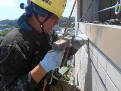 ロープアクセス 外壁タイル補修工事 外壁塗装の事なら浜松塗装専門店 加藤塗装東横インホテル