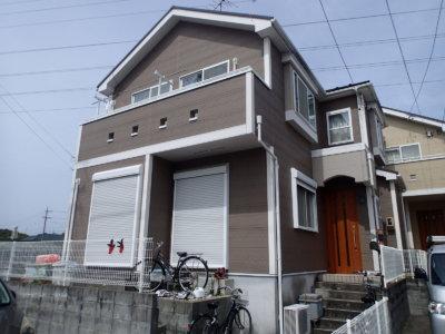 外壁塗装の事なら浜松塗装専門店|加藤塗装 中区上島 建売住宅 青い外壁