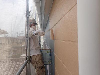 中塗り塗装 エスケー化研 水性セラミシリコン 外壁塗装の事なら浜松塗装専門店|加藤塗装 カラーシュミレーション足場架設狭い