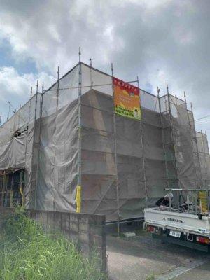 浜松市南区三和町一戸建て住宅外壁屋根塗装始まりました。外壁塗装の事なら浜松塗装専門店|加藤塗装