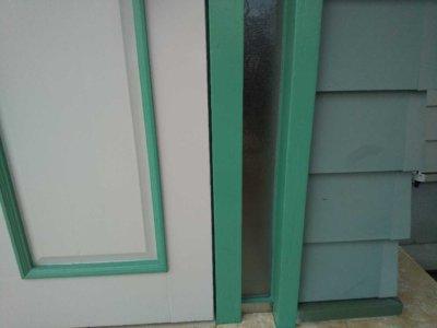浜松市東区恒武町塗装工事施工事例完成外壁塗装の事なら浜松塗装専門店|加藤塗装外構エクステリアアートフレッシュ緑色の家玄関木部