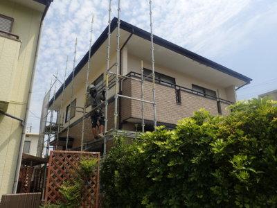 浜松市南区遠州浜外壁塗装工事が始まりました。