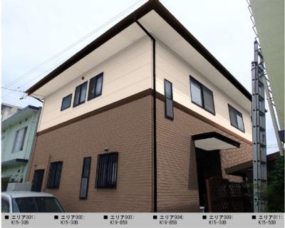 浜松市南区遠州浜外壁塗装工事が始まりました。外壁塗装の事なら浜松塗装専門店 加藤塗装タイル調外壁レンガ調カラーシミュレーション
