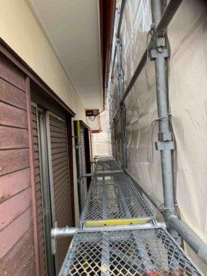 浜松市東区長鶴町塗装工事始まりました加藤塗装足場架設