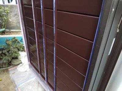 浜松市南区遠州浜平屋住宅トタン外壁破風塗装雨戸戸袋塗りたて和風住宅純和風