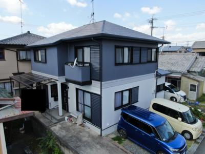 完成3完成2外壁塗装の事なら浜松塗装専門店|加藤塗装 施工事例 浜松市南区三和町 ツートンカラー カラーベスト 劣化 色分けカラー