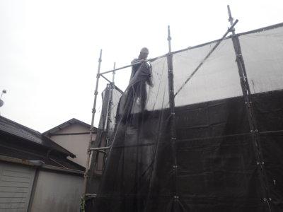 台風14号接近 外壁塗装の事なら浜松塗装専門店|加藤塗装 メッシュシート 足場 強風