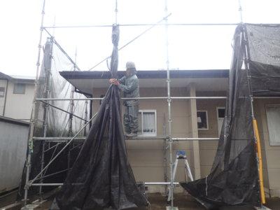 台風14号接近 外壁塗装の事なら浜松塗装専門店|加藤塗装 メッシュシート 足場 強風 対策 大丈夫 倒壊 危険 口コミ 評価