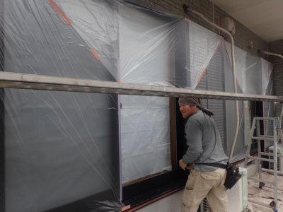 ダブルトーン仕上げ 外壁塗装の事なら浜松塗装専門店 石材調サイディング 令和2年10月 職人技術 養生