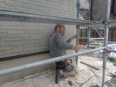 ダブルトーン仕上げ 外壁塗装の事なら浜松塗装専門店 石材調サイディング 令和2年10月 職人技術 養生 口コミ