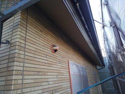 養生作業 浜松市中区高林町Oさま邸 外壁塗装の事なら浜松塗装専門店|加藤塗装 軒天 濃い茶色