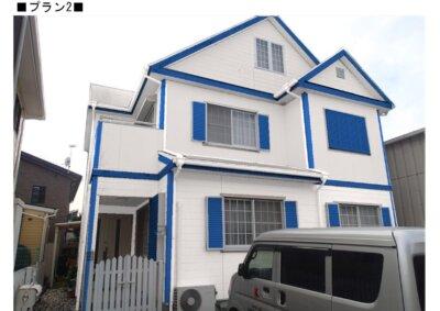 カラーシュミレーション ツートン 青と白 外壁塗装の事なら浜松塗装専門店 加藤塗装