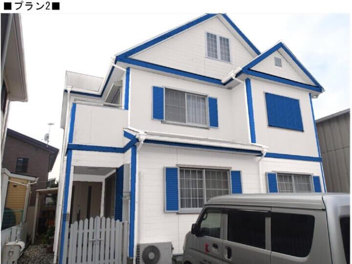 カラーシュミレーション ツートン 青と白 外壁塗装の事なら浜松塗装専門店|加藤塗装