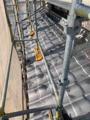 浜松市南区西島町 施工事例 外壁塗装の事なら浜松塗装専門店|加藤塗装 純和風住宅 瓦の上に足場