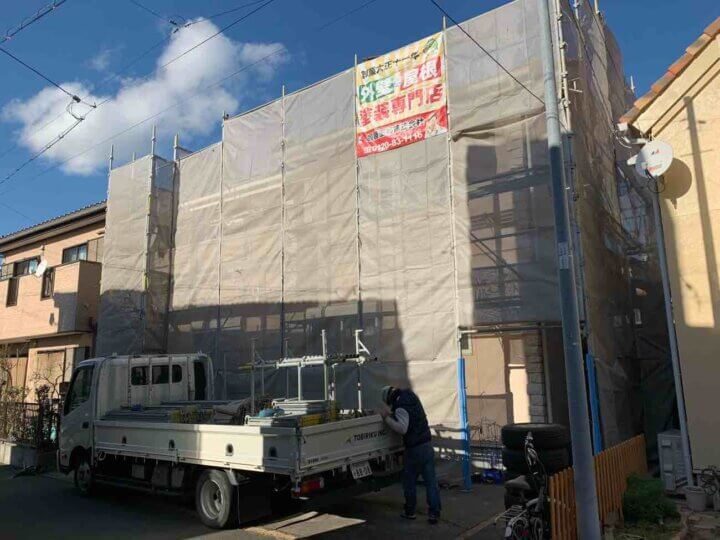 外壁塗装工事が始まりました! 北寺島町 施工事例 外壁塗装の事なら浜松塗装専門店|加藤塗装