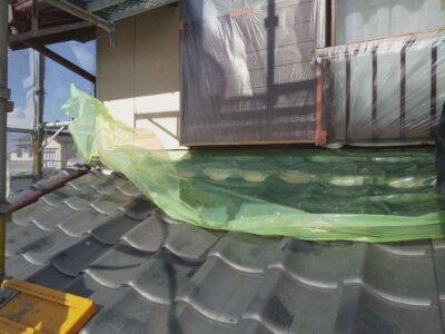 浜松市南区西島町 施工事例 養生作業 強風 恐怖 遠州のからっ風 外壁塗装の事なら浜松塗装専門店|加藤塗装 純和風住宅