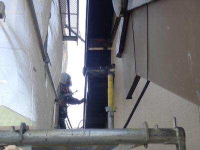 浜松市南区西島町 施工事例 外壁塗装の事なら浜松塗装専門店|加藤塗装 純和風住宅 瓦の上に足場 高圧洗浄