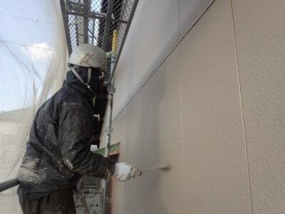 外壁塗替え 上塗り塗装 南区西島町 施工事例 外壁塗装の事なら浜松塗装専門店|加藤塗装 施工事例 令和3年 2021 サンドカラー 純和風住宅