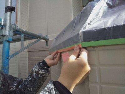 アパートマンション塗装 施工事例 磐田市 外壁塗装の事なら浜松塗装専門店|加藤塗装 千手堂 強風 養生作業