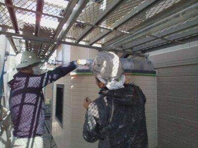 アパートマンション塗装 施工事例 磐田市 外壁塗装の事なら浜松塗装専門店|加藤塗装 千手堂 強風 養生作業 短期間施工