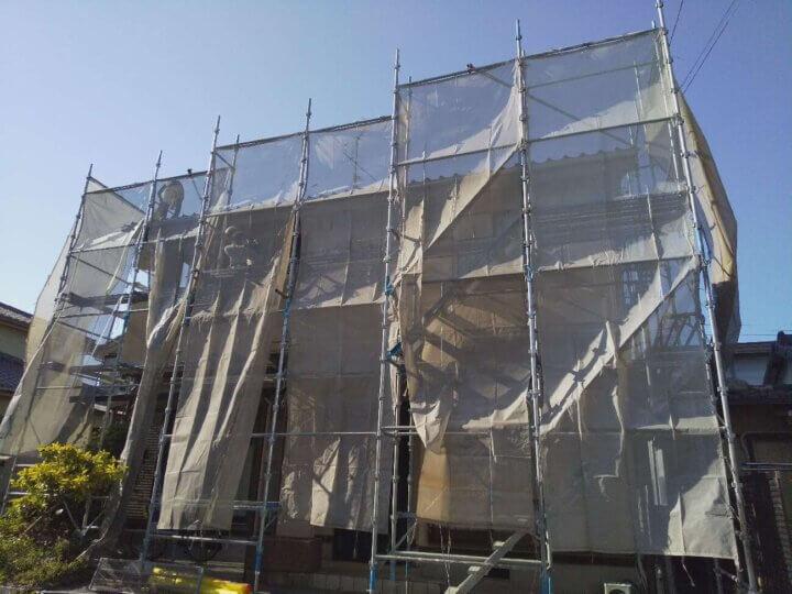 浜松市南区新橋町 施工事例 外壁塗装の事なら浜松塗装専門店|加藤塗装 足場架設