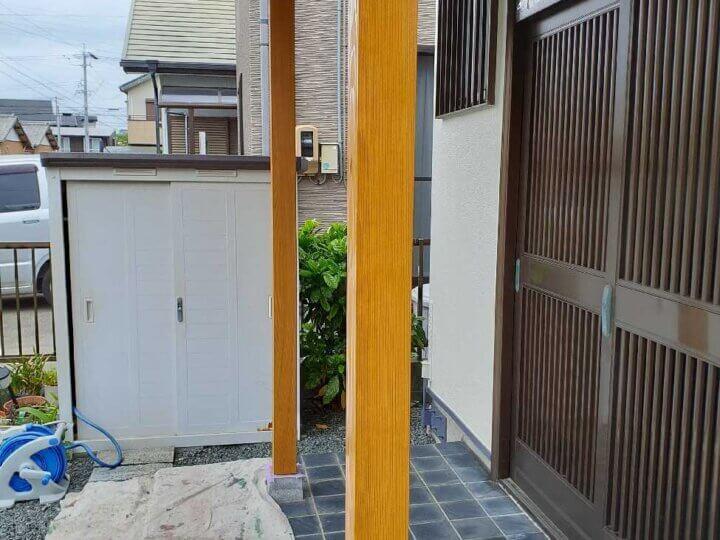 玄関柱新設